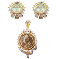 Stunning Gift of Pendant N Earring Set to Chavara