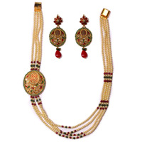 Remarkable Long Pearl Design Necklace N Earring Set to Anand