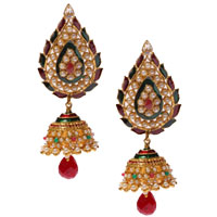 Fabulous Pearl Earring Set in Red N Green to Bade Bacheli