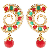 Outstanding Big Earring Set with Pearl N Stone Design to Aluva