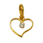 Angelic AD Studded Heart-shaped Gold Pendant from Anjali (22K) to Udaipur