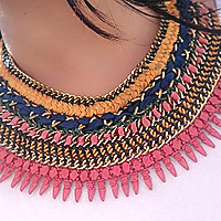 Graceful pairing of Embroidered Pendent with Cotton Braided Necklace to Cochin