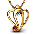 The Ganesha Charm Pendant studded with Diamond And Ruby  In 18KT Yellow Gold from Bluestone to Gurgaon