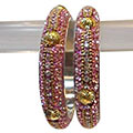 Appealing Ruby Encrusted Bangle Set. to India