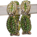 Silver And Green Crystals Encrusted Designer Bangles to Taran Taran