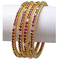 Semi-Precious Stone And White Crystal Studded Golden Bangle Set to Taran Taran