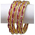 Fabulous Golden Bangle Set With Ruby Electroplating to Puthiyangadi
