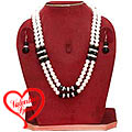 Designer Double Row Pearl Jewelry with American Diamonds and Black Stones Necklace Set with Matching Earrings to India
