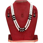 Designer Double Row Pearl Jewelry with American Diamonds and Black Stones Necklace Set with Matching Earrings to Ambur