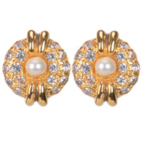 Dazzling Pearl Earrings Set Gold Plated with American Diamonds to Ambur