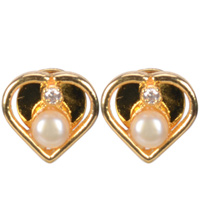 Dazzling Heart Shaped Pearl and American Diamond Pair of Earrings to Aluva