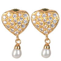 Scintillating Heart Shaped Pearl and Rhinestone studded Pair of Earrings to Udaipur