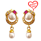 Pink Stone Studded Designer Genuine Pearl Pair of Earrings to Ghaziabad