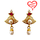 Bell Shaped Pink Stone and AD Studded Fresh Water Pearl Earring Set to Hyderabad