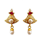 Bell Shaped Pink Stone and AD Studded Fresh Water Pearl Earring Set to Ambur