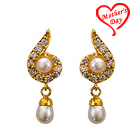 Fancy Genuine Pearl and Rhinestone Studded Pair of Earrings to Hyderabad