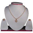 Gorgeous Looking Fresh Water Pearl Necklace with Gold Plated Heart Shaped Pendant & Earrings Set to India