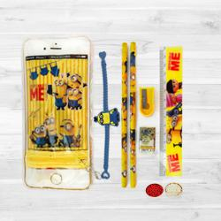 Rakhi with Minions Stationery Set to Cochin