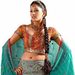 Fascinating Hand-embroidered Green Jaquard Lehenga  to Tirunelveli