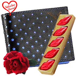 Charming mens Leather Wallet with Velvet Rose and ... to Faridabad