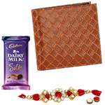 Light Brown Shaded Genuine Leather Mens Wallet from Leather Talk and Chocolates with Rakhi and Roli Tilak Chawal to India