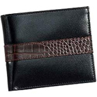 Genuine Leather Black Leather Wallet from Leather Talks for Men with Chris Brown Shaded Crocodile Skin Styled Patch to Amlapuram