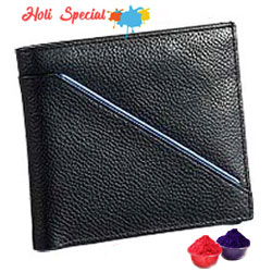 Leather Talks Genuine Leather Gents Wallet in Black with Blue Leather Stripe with free Gulal/Abir Pouch to Solapur