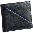 Leather Talks Genuine Leather Gents Wallet in Black with Blue Leather Stripe to Nashik