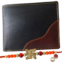 Rich Born�s Quixotic Gents Leather Wallet with 1 Free Rakhi, Roli Tilak and Chawal to Bangalore