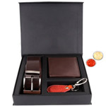 Elegant Gift Set of Wallet, Key Ring and Belt with free Roli Tilak and Chawal to Anand