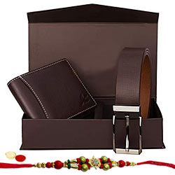 Genteel Ensemble of Wallet and Belt with Free Rakhi and Roli Tilak Chawal to Cochin