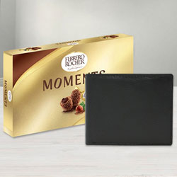 Appealing Leather Wallet with Ferrero Rocher Chocolates for Gents to Allahabad