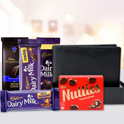Admirable Mens Leather Wallet with Assorted Cadbury Chocolates to Allahabad