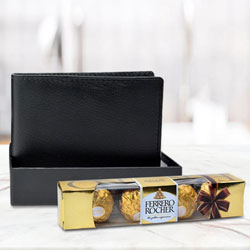 Astonishing Black Leather Wallet with Ferrero Rocher Chocolate to Allahabad