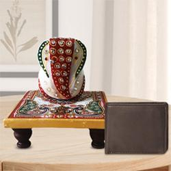 Auspicious Ganesh Marble Chowki with a Leather Wallet for Gents to Allahabad