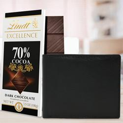 Amazing Rich Born Leather Wallet for Men with a Lindt Excellence Chocolate Bar to Allahabad