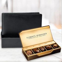 Amazing Rich Borns Black Leather Wallet with ITC Elements Premium Handcrafted Chocolates to Allahabad