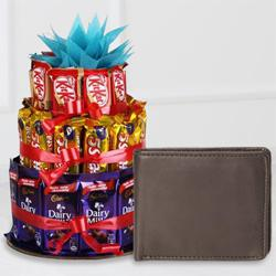 Stunning Leather Wallet for Boys with a 3 Tier Chocolate Arrangement to Allahabad