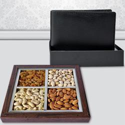 Stylish Gents Leather Wallet with Dry Fruits to Allahabad