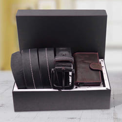 Wonderful Hide and Skin Mens Leather Card Holder and Middle Stitch Belt to Aalangulam