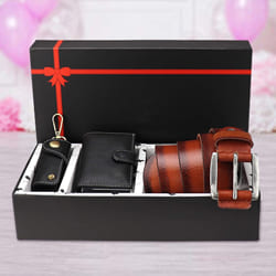 Lovely Hide N Skin Mens Leather Card Wallet, Belt N Keychain to Aalangulam