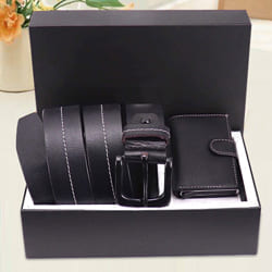 Attractive Hide and Skin Mens Leather Middle Stitch Card Holder N Belt to Agartala