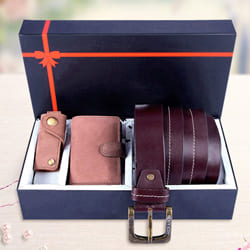 Wonderful Hide and Skin Leather Mens Card Holder, Belt N Keychain to Allahabad