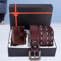 Amusing Hide and Skin Mens Leather Card Holder, Belt N KN95 Mask to Agartala