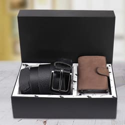 Mesmerizing Hide and Skin Mens Leather Card Holder and Formal Belt to Adoni
