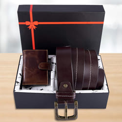 Attractive Hide and Skin Mens Leather Card Holder, Belt N KN95 Mask to Aalangulam