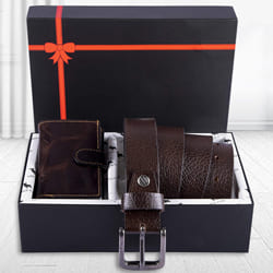 Exquisite Hide and Skin Mens Leather Card Holder, Belt N KN95 Mask to Agartala