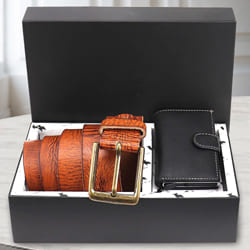Exquisite Hide and Skin Mens Leather Card Holder and Belt<br> to Aalangulam