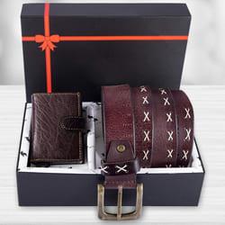 Wonderful Hide and Skin Mens Leather Card Holder, Belt N KN95 Mask to Aalangulam