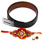Reversible leather belt for gents with Rakhi and Roli Tilak Chawal to Bangalore